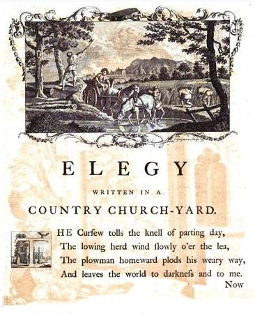 First page of Dodsley's illustrated edition of Gray's Elegy with illustration by Richard Bentley